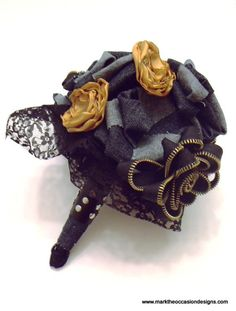 biker wedding bouquet - zippers, fabric, and leather