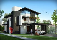 A great ultra modern bungalow design gives a complete new style statement to your dream project. Bungalow style means different things to different people and is therefore not a particularly pre… Modern Bungalow Exterior, Modern Exterior House Designs, Modern Bungalow House, Modern House Plans, Modern House Design, Exterior Design, Modern Houses, Bungalow Haus Design, Bungalow Interiors