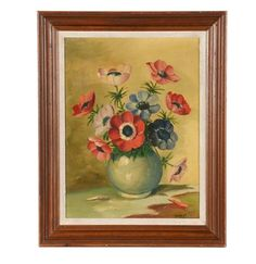 Original Oil Painting, Poppy Oil Painting, Richard Patrick Original Oil Painting on Board Flowers Fr Vintage Coffee, Oil Painting On Canvas, Vintage Flowers, Vintage Art, Red Roses, Poppy, Tapestry, The Originals, Board