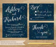 Love Galaxy Wedding Invitation. Printable Wedding Invitation.Starry Night Wedding Invitation. Stars Invitation. Milky Way Wedding Invitation