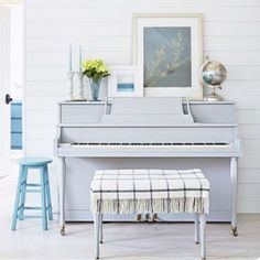 Music to my eyes  Vintage upright piano pained in Paris Gray by @anniesloanhome Chalk Paint. Designed by blogger Amanda Robinson of @naturalmommie. If you're not a DIYer (and live near LA) hit up The Strip Joint in Hermosa Beach for your custom painting/refinishing needs!