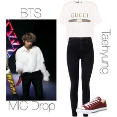 BTS Taehyung MIC Drop inspired outfit by melaniecrybabyz on Polyvore featuring polyvore, fashion, style, Gucci, J Brand, Converse and clothing