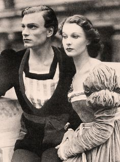 "Vivien Leigh (5 November 1913 – 8 July 1967)   Laurence Olivier and Vivien Leigh in the Old Vic production of ""Hamlet"" at Elsinore, Denmark in 1937"