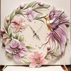 """Часы для дома ручной работы. Ярмарка Мастеров - ручная работа. Купить часы""""Орхидеи"""". Handmade. Орхидеи, комбинированный, красивые часы Paper Clay Art, Clay Wall Art, Polymer Clay Art, Plaster Crafts, Plaster Art, Clay Crafts, Decorative Plaster, Jar Art, Clock Art"""