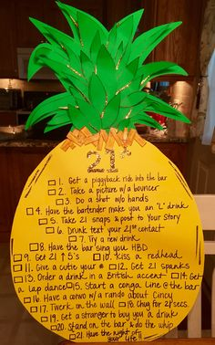 21st Birthday Pineapple Checklist sign!