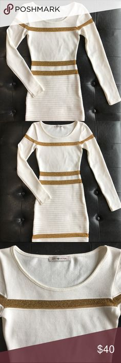 NWOT Hera Collection White and Gold Mini Dress Super cute dress by Hera Collection. Very stretchy, formfitting and comfortable. The dress is too small on me so it's never been worn. Happy poshing 🎀 Hera Collection Dresses Mini
