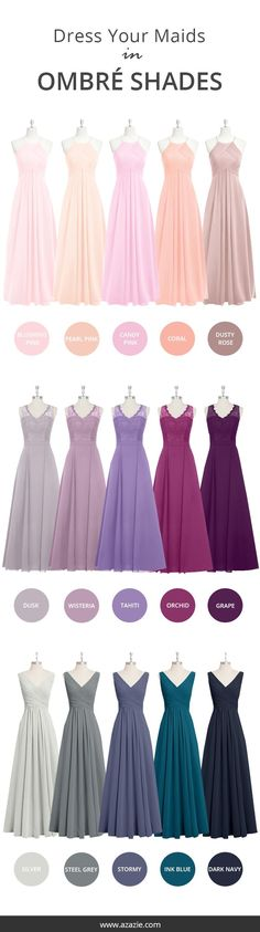 Mixing-and-matching your bridesmaids made easy! Azazie offers 50+ colors for you to choose from. We offer color swatches to make mixing & matching easier. Wedding tip: Try out our sample program before you purchase to make sure you are completely in love with a dress! Azazie has over 100 styles from delicate lace to bold satins. Shop our affordable bridesmaid dresses today!