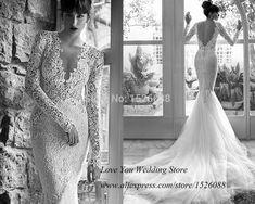Backless Deep V Neck Long Sleeve Mermaid Wedding Dresses. Lace Mermaid  Wedding DressLace DressBridal DressesProm ... 720174021201