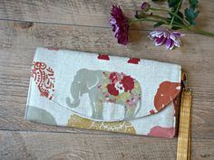 Ladies Organizer Purse Elephant Design- Women's Wallet - Ladies Organizer Wallet by theWatermelonDesign on Etsy