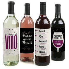 Sip Happens - Funny Wine Bottle Labels | BigDotOfHappiness.com