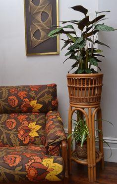 Stylish Mid Century Vintage XL Bamboo / Rattan Planter/ Plant Stand