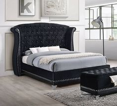 Shop Coaster Furniture Barzini Black Bedroom Set with King Bed with great price, The Classy Home Furniture has the best selection of Master bedroom Complete Sets to choose from Furniture, Tufted Bed, Black Bedroom Furniture, Bedroom Design, Bed Furniture, Home Decor, Upholstered Platform Bed, Bedroom Furniture Sets, King Upholstered Bed