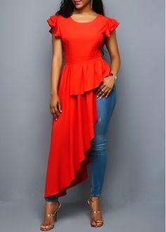 Asymmetric Hem Ruffle Sleeve Orange Red Blouse | Rotita.com - USD $33.53