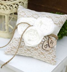 burlap lace wedding ceremony details ring bearer pillow