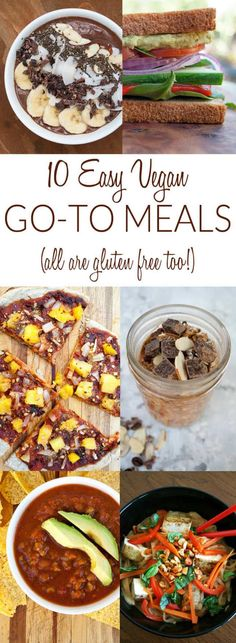 10 Easy Vegan Go-To Meals (all are gluten free) - These easy meals are simple enough that you can learn them by heart. Others can be customized to your liking each time you make them!