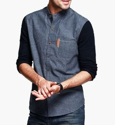 New 2015 Mens Fashion Brand Patchwork Shirts Mandarin Collar Long Sleeve Cotton Casual Shirt Men VC-8470