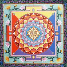 ⊰❁⊱ Mandala ⊰❁⊱ Sri Yantra Square by Paul Heussenstamm Sri Yantra, Sacred Symbols, Sacred Art, Mandala Painting, Mandala Art, Spiritual Images, Mudras, Arte Tribal, Meditation