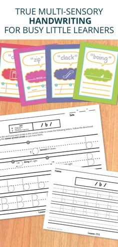 An engaging handwriting curriculum that uses onomatopoeias and icons to help kids imagine through each letter stroke! Look for all coordinating pieces.