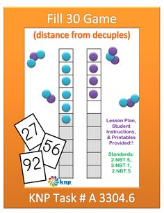 """""""Fill 30 Game (distance from decuples)"""" - Tell  how far any number is from the nearest multiple of 10. Supports learning Common Core Standards: 2.NBT.5, 3.NBT.1, 2.NBT.5 [KNP Task # A 3304.6]"""