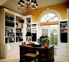this room has a personality!! love the use of yellow here!! majestic wooden desk!