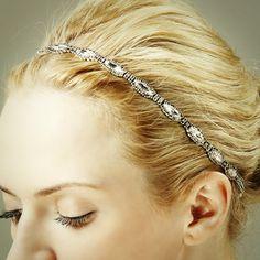 CHRISTINE, Rhinestone Bridal Headband, Oval SWAROVSKI Crystal Wedding Headband, Vintage Inspired Wedding Hair Accessories (Haute Couture). $172.00, via Etsy.
