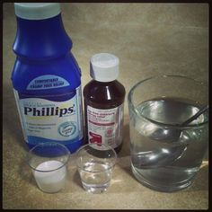 """""""Magic Mouthwash"""": a mixture of equal parts Milk of Magnesia {or Maalox}, and Children's Benedryl"""