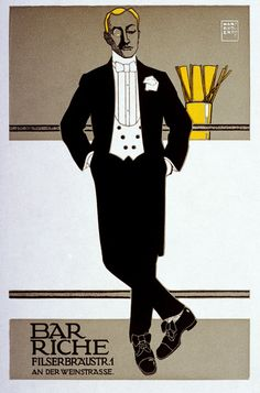 Bar Riche poster, 1907. Designed by Hans Rudi Erdt (March 31, 1883 - May 24, 1918).
