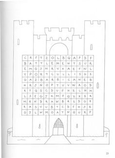 Motte and bailey castle colouring page. Other coloring