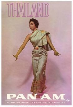 Art Print: Thailand - Thai Dancer - Pan American World Airways by Pacifica Island Art : 1 Bangkok, Vintage Travel Posters, Vintage Airline, Poster Vintage, Vintage Ads, Thai Art, Thai Thai, Thai Fashion, Thai Traditional Dress
