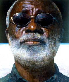 François Bard {contemporary art head sunglasses bearded male african-american black man face portrait painting}