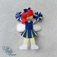 Cheerleader Ribbon Sculpture Hair Clip, Cheer Hair Bow, Team Spirit by EllaBellaBowsWI on Etsy https://www.etsy.com/listing/126857734/cheerleader-ribbon-sculpture-hair-clip