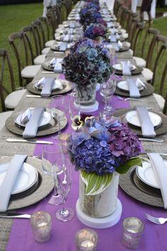 Lush Hydrangea Centerpieces On Purple Runners