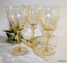 4 Heisey Glass Sahara Yellow 9 oz Goblets Mary N Virg Stem Thistle Etching #Heisey