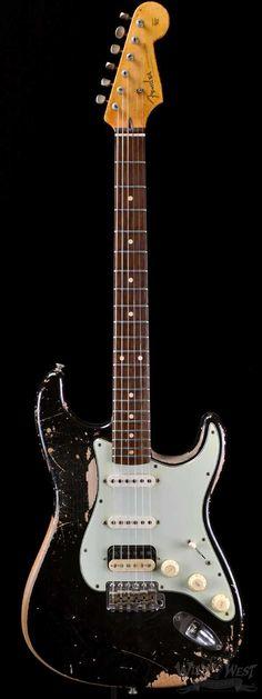 Fender 1960 MVP Stratocaster HSS Super Relic Black - Preowned