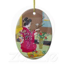 Shop Cool oriental japanese classic geisha lady art ceramic ornament created by TheGreatestTattooArt. Japanese Ornaments, Christmas In July, Geisha, White Porcelain, Oriental, Ceramics, Lady, Classic, Prints