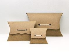 Pillow Box Sampler Set - Ribbon Tie Gift Boxes, Medium, Small, Mini variety pack - 2 of each size - recycled Kraft eco packaging on Etsy, Gift Box Packaging, Jewelry Packaging, Smart Packaging, Organic Packaging, Custom Packaging, Packaging Ideas, Tie Pillows, Custom Pillows, Tie Gift Box