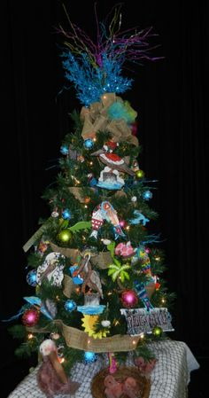 FOT's Pelican Tree 2013 designed by Wilma Connell with handmade ornaments created by Artist Jean Clark.