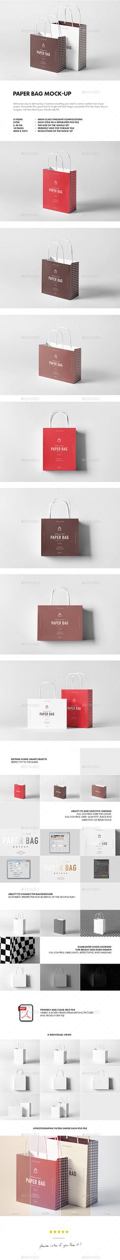 Paper Bag Mock-up by yogurt86 PAPER BAG MOCK-UP Advanced, easy to edit mockup. It contains everything you need to create a realistic look of your project. Guar