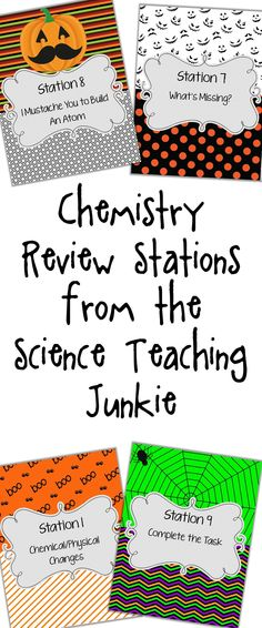 Set up an organized chemistry review with stations covering topics such as chemical and physical changes, components of chemical equations (vocabulary review), modeling formulas, recognizing balanced and unbalanced equations, modeling chemical equations, fill-in-the-blanks atomic structure vocabulary, atomic structure table (with element name, symbol, atomic mass, atomic number, protons, neutrons, electrons), building an atom model, and chemical reactions review task card questions.