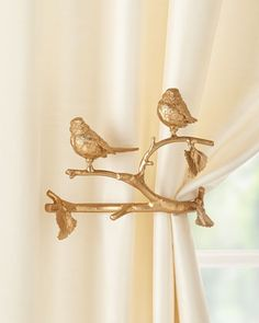 Feathered Friends Curtain Holdback, Set of Two  by Janice Minor Export at Neiman Marcus.