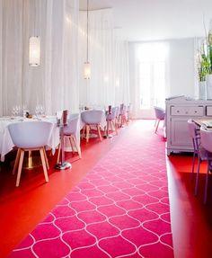 Moroccan pattern red carpet in restaurant