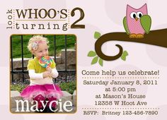 Adorable Owl Birthday Invitation  Girl by deanworks on Etsy, $15.00
