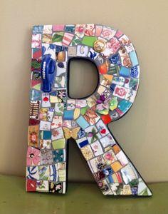 LETTER R, Pique Assiette Mosaic monogram. $70.00
