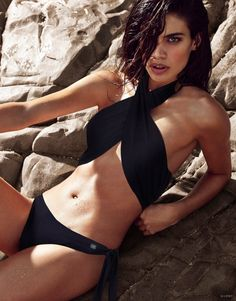 Sara Sampaio models a sexy wrap around bikini top and bottoms for Lipsy swimwear.