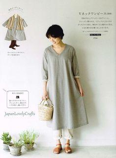 Simple Style Dress Patterns Yukari Nakano by JapanLovelyCrafts Japanese Sewing Patterns, Easy Sewing Patterns, Clothing Patterns, Dress Patterns, Diy Gown, Diy Dress, Dress Skirt, Simple Dress Pattern, Gown Pattern