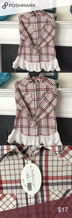 """Wish List plaid ruffle top Adorable boutique top. Color is red, medium blue and white.  Shoulder Seam to Shoulder Seam=16"""" Pit2Pit=20"""" l Length from Shoulder to hem=29"""" at longest point. This is labeled a small, but using measurements I Would say easily a med, or M/L wish list Tops"""