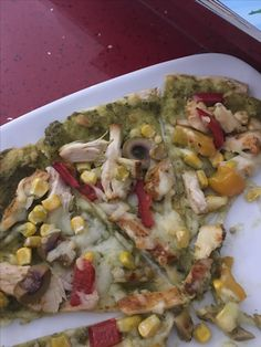 450 calories pizza tastes amazing too  Made a a wrap with pesto base cooked chicken sweet corn peppers & olives and bit of mozzarella  Fab for lunch or diner