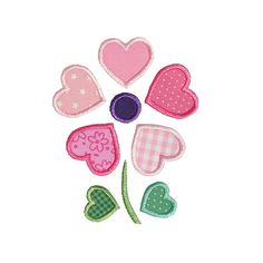 Heart Flower Applique Machine Embroidery Design Flowers