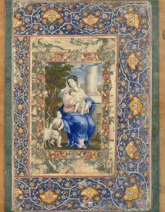 مریم عذرا و مسیح کودک رقم محمد زمان، ۱۰۹۳ قمری، دوره صفویان، نگاره ۱۱.۱ در ۱۷.۲، گواش آبرنگ بر روی کاغذ MADONNA AND CHILD SIGNED BY MOHAMMAD ZAMAN, SAFAVID IRAN, DATED AH 1093/1682-83 AD Gouache on paper, depicting the seated Virgin Mary wearing pink and blue robes holding her son Jesus Christ looking at the young St. John the Baptist who is dressed in animal skin robe holding crook with cross-shaped finial, a sheep stands behind him, beyond them