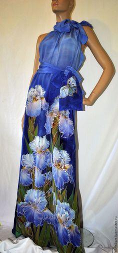 Купить Платье Вечернее Ирисы - синий, платье батик, шелковое платье, ирисы батик